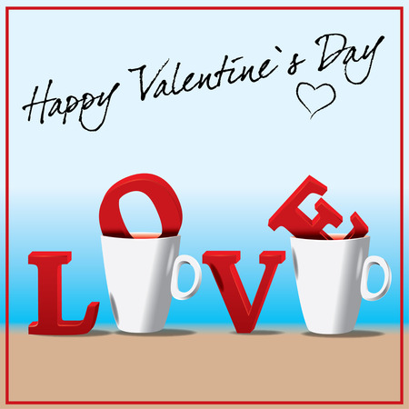 holidays for couples: Valentines day, love in the cup of coffee, greeting card