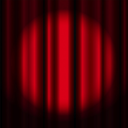 red theater curtain: Red theater curtain with spotlight -vector image