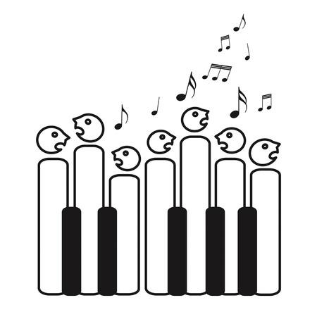 Choir of piano keys, isolated on white background Ilustracja