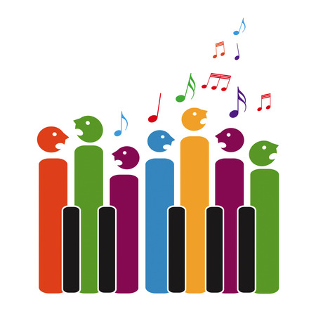 Coro de teclas de piano, aislado en fondo blanco