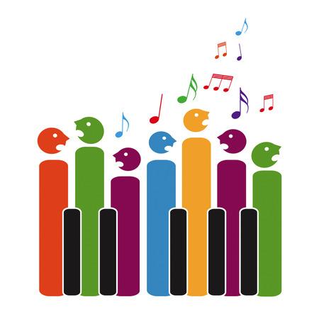 Koor van piano toetsen, geïsoleerd op witte achtergrond