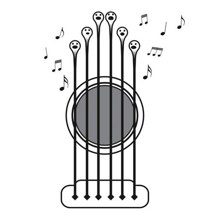 Cordes de guitare chantant comme un choeur, vecteur ilustration sur fond blanc Banque d'images - 64682370