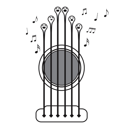 Guitar strings singing as a choir, vector ilustration on white background