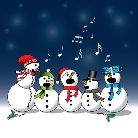 Snowman singing -choir, christmas carol isolated on blue and white background Stock Illustratie