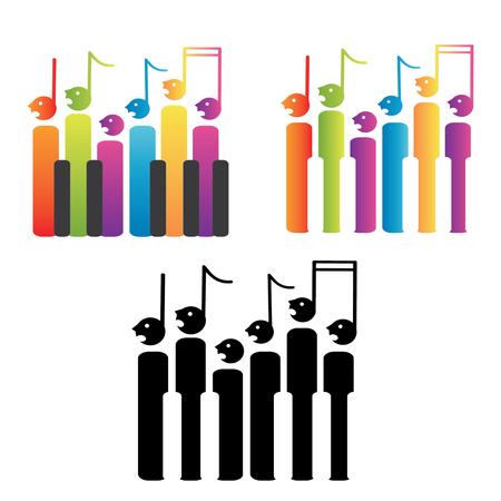ノートやピアノの鍵盤、白い背景で隔離の合唱団