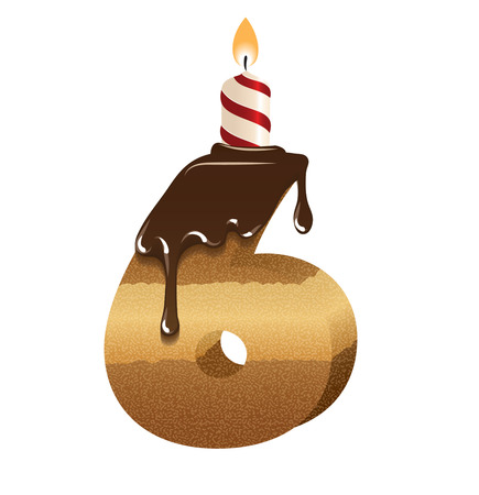Birthday Cake Font Number Six Royalty Free Cliparts Vectors And