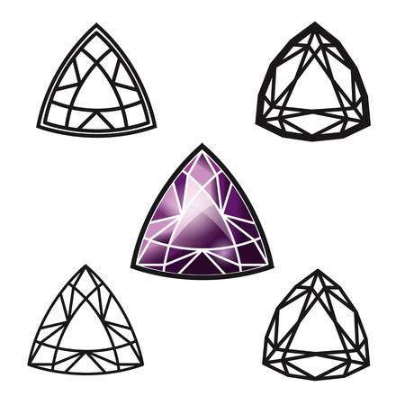 sapphire gemstone: Trillion gemstone cut -diamond Illustration