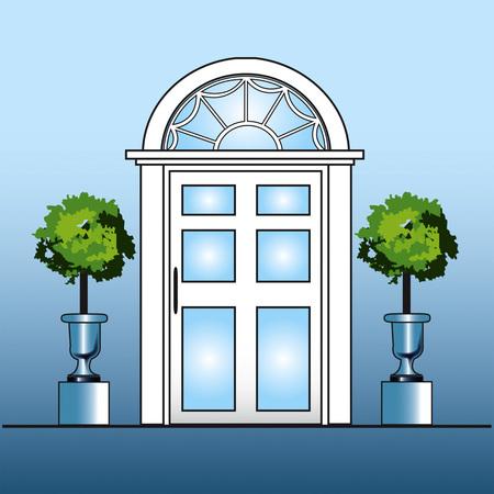 Porte blanche avec topiaire Banque d'images - 92187724