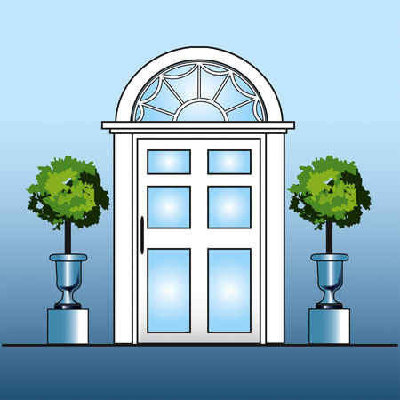 White door with topiary