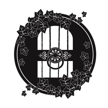 Cellar door emblem on white background illustration.