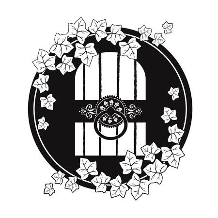 Cellar door emblem on plain background.