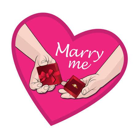 Hands with a gift marry me Ilustração