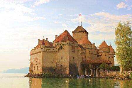Chillon Castle on the shores of Lake Geneva. Switzerland. August 28, 2010.