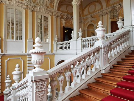 Rooms and the luxurious interior inside the Rundale Palace. Latvia, May 2019.