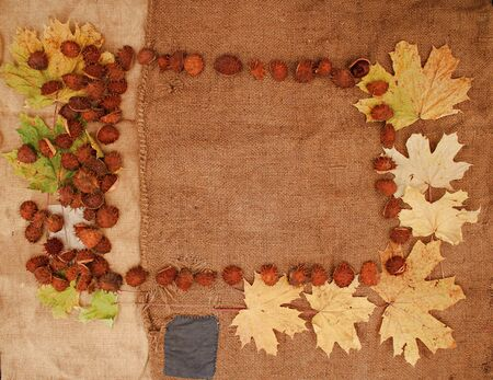 Abstract frame on burlap with the use of autumn yellow leaves.