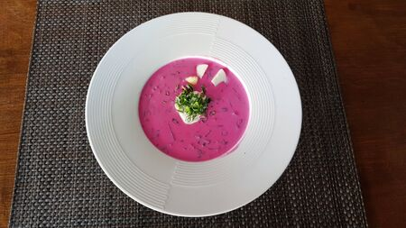 Delicious cold kefir beetroot soup very popular on hot summer days