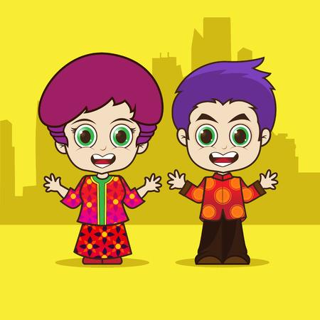 Asean Singapore cartoon eps 10 vector Illustration