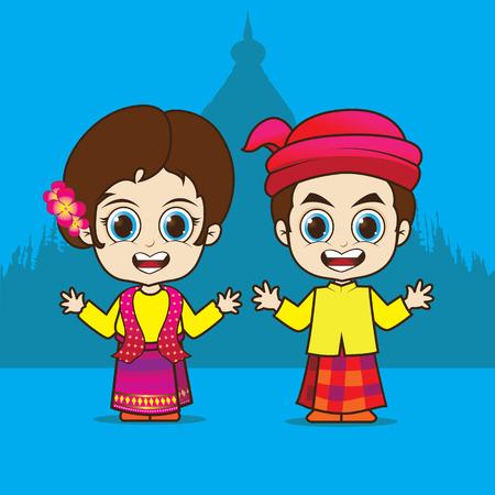 Cartoon Asean Myanmar eps 10 vector