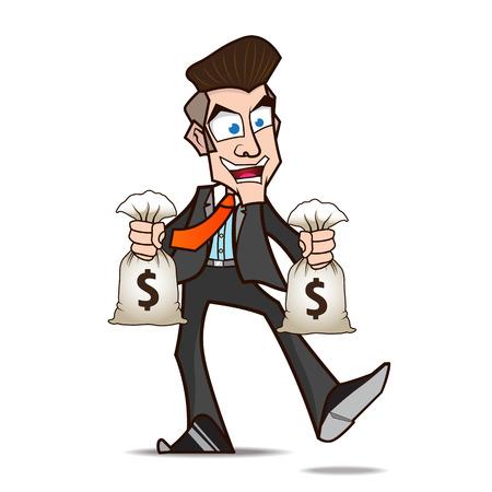 Hombre de negocios contenta de dinero de dibujos animados Foto de archivo - 27911351