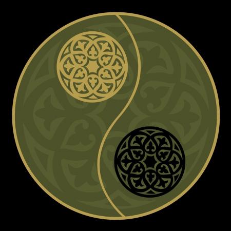 Yin-yang in het groen Stock Illustratie