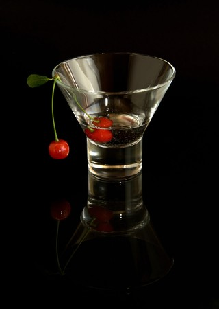 vermouth: Cherry in vermouth Stock Photo