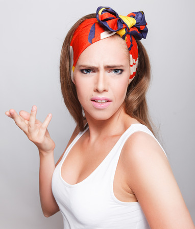 indignant: Pretty woman with mad face expression