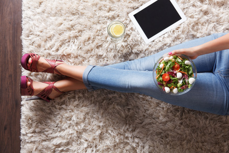 healthy person: woman eating salad
