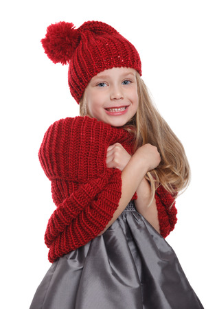 shivering: Cute child shivering in the cold isolated