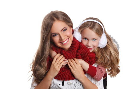 family isolated: Happy mother and daughter at winter isolated