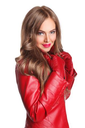 guantes: Mujer atractiva en la chaqueta de cuero Foto de archivo
