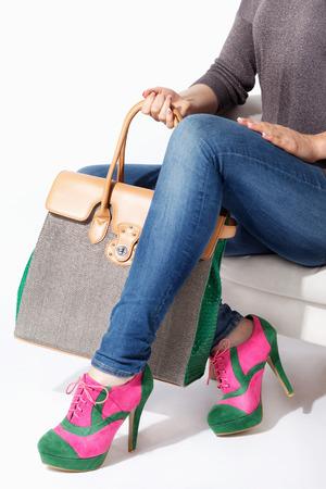 extravagant: Woman holding an elegant extravagant stylish bag Stock Photo
