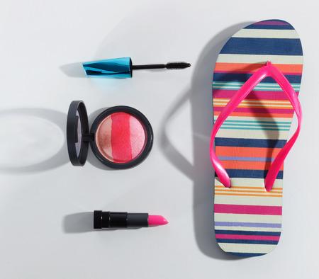 Close-up van de zomer make-up set