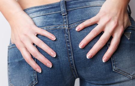 Close-up van de nagels met french manicure Stockfoto