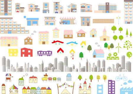 Building City Icon Set  イラスト・ベクター素材