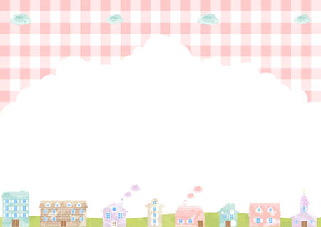 Watercolor Townscape Gingham Check Background  イラスト・ベクター素材
