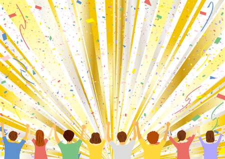 People who hold hands Many years old confetti concentrated line background Ilustrace