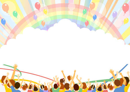 Spectator Balloon Rainbow Concentrated Line Background  イラスト・ベクター素材