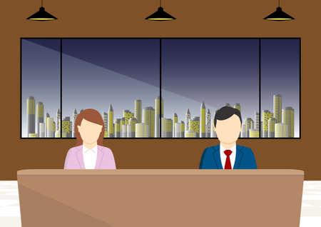 Evening News Program Male and Female Casters Ilustración de vector
