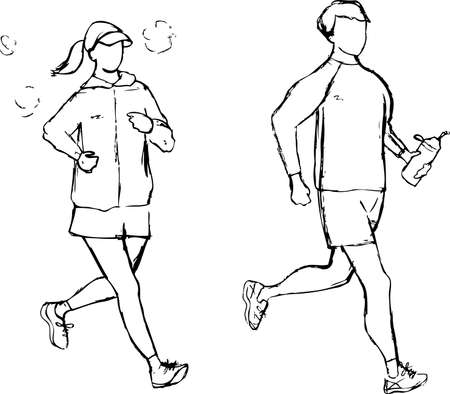 Penciling Men and Women Running