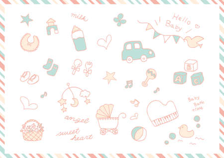 Hand-drawn Baby Goods Material Collection
