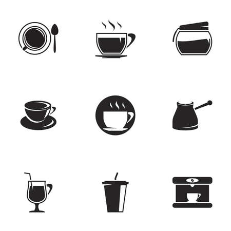 Icons for theme black coffee. White background