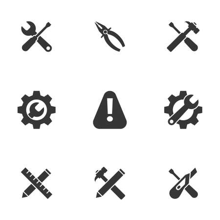 Icons for theme Tools. White background 向量圖像