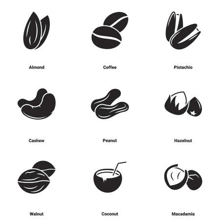 Icons for theme Nuts. White background Vektorgrafik