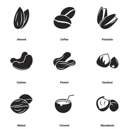 Icons for theme Nuts. White background Ilustração Vetorial