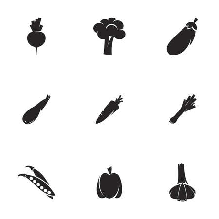 Icons for theme Vegetables. White background
