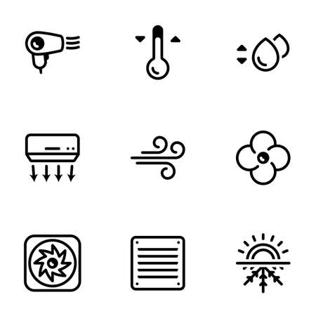 Icons for theme Cooling, air conditioning, vector, icon, set. White background