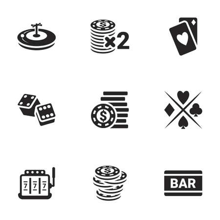 Icons for theme Casino and gambling, vector, icon, set. White background