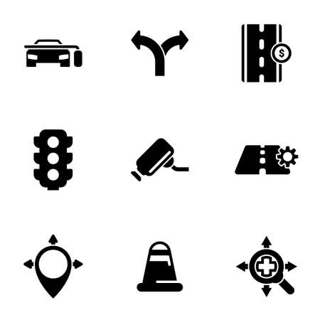 Set of simple icons on a theme Road, traffic, car, vector, set. White background Stock Illustratie