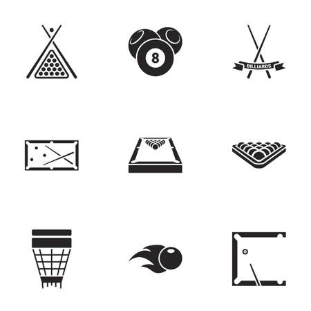 Icons for theme billiards, vector, icon, set. White background 向量圖像