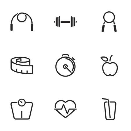 Icons for theme Health and Fitness, vector, icon, set. White background Ilustración de vector